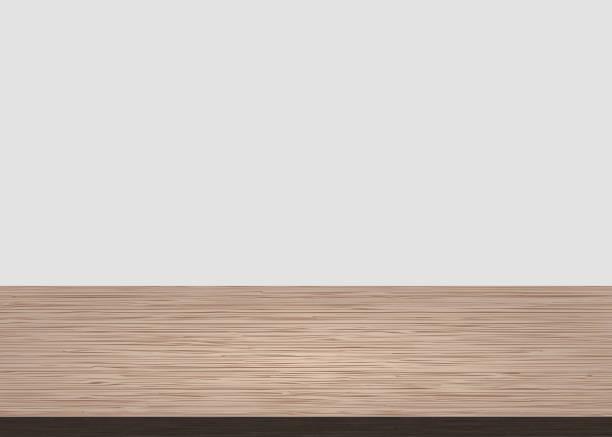 illustrazioni stock, clip art, cartoni animati e icone di tendenza di empty wood table top on white concrete background. wooden background - tavolo legno