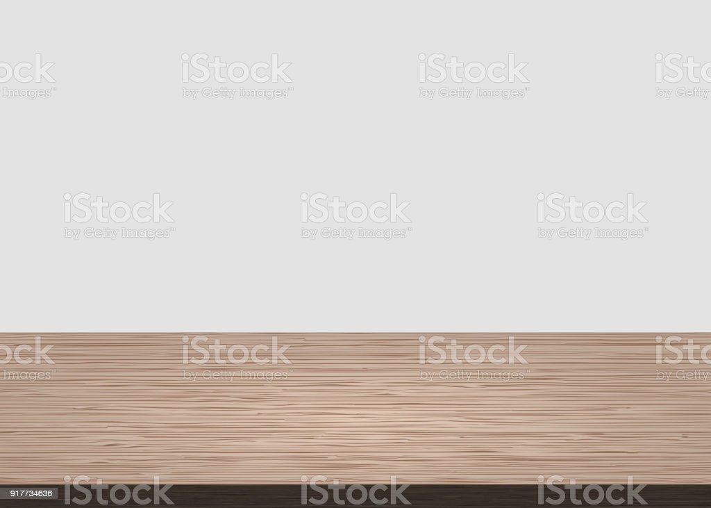 White Table Top. Empty Wood Table Top On White Concrete Background. Wooden  Background Vector