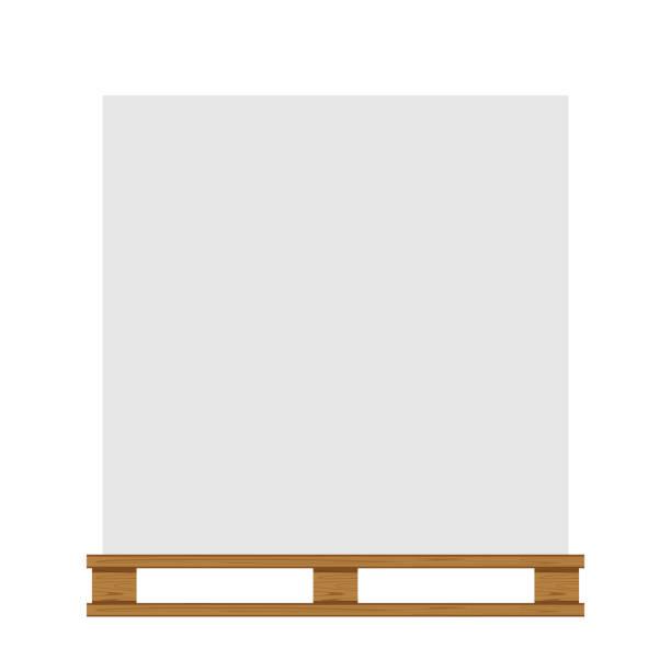 stockillustraties, clipart, cartoons en iconen met lege beboste pallet geïsoleerd op witte achtergrond en kopieerruimte, lege pallet hout voor het plaatsen van producten dozen stack in fabriek magazijn, illustratie beboste pallet voor krat dozen opslag - pallet