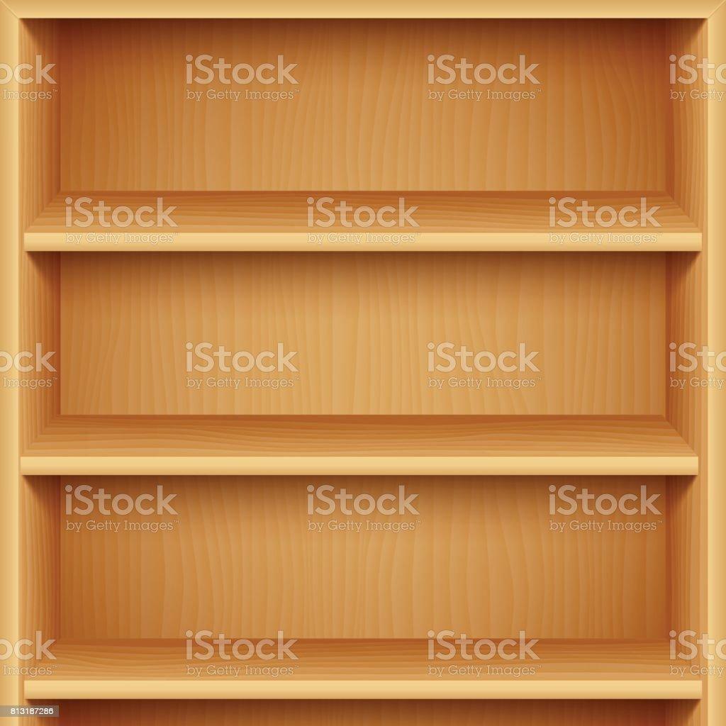 Empty Wooden Bookshelves vector art illustration