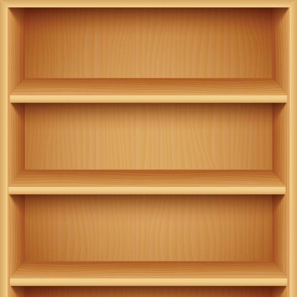 Empty Wooden Bookshelves Vector Art Illustration