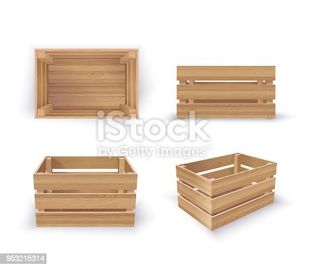 Vector Photo Realistic Empty Wooden Crates Isolated On White. Top, Front And Perspective Views