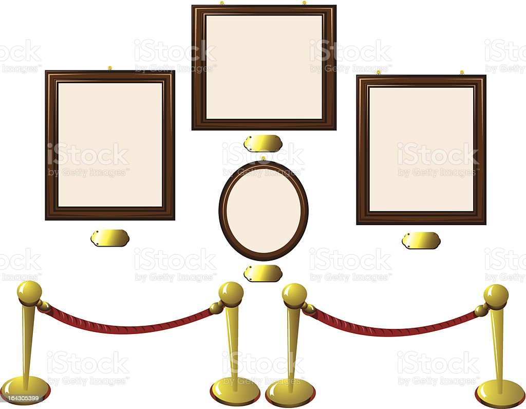 Empty Wooden Frames in a Museum royalty-free stock vector art