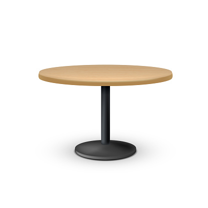 Empty Wooden Round Office Table On Metal Leg