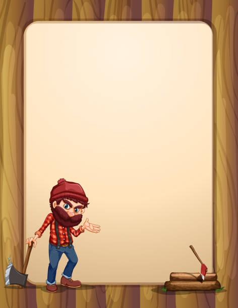 illustrations, cliparts, dessins animés et icônes de modèle en bois vide avec woodman tenant hache - man axe wood