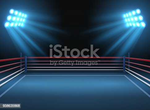istock Empty wrestling sport arena. Boxing ring dramatic sports vector background 938635868