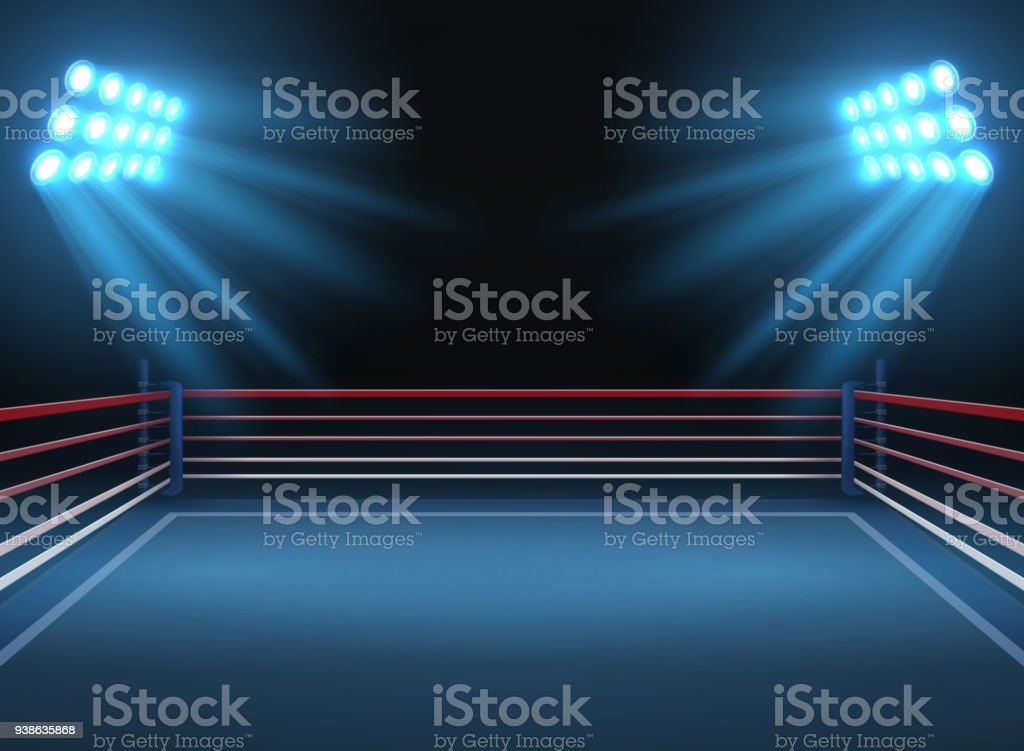Arena del deporte lucha vacía. Anillo de boxeo deportes espectacular vector fondo - ilustración de arte vectorial