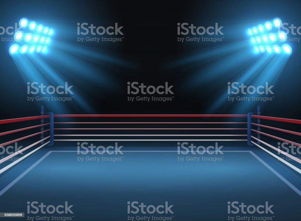 Leere Wrestling-Sport-Arena. Boxing Ring dramatische Sport Vektor Hintergrund – Vektorgrafik