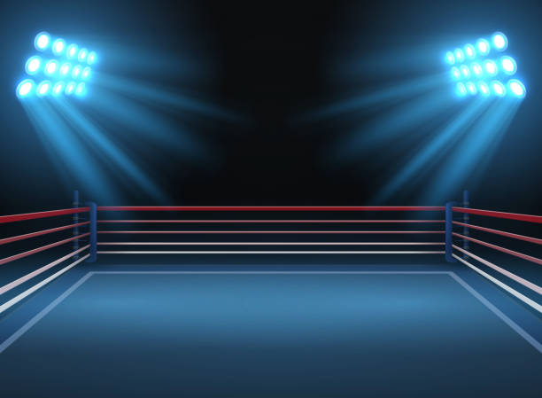 empty wrestling sport arena. boxing ring dramatic sports vector background - wrestling stock illustrations, clip art, cartoons, & icons