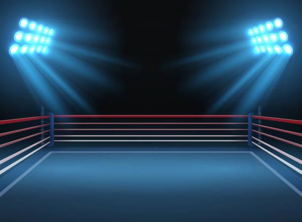 ilustraciones, imágenes clip art, dibujos animados e iconos de stock de arena del deporte lucha vacía. anillo de boxeo deportes espectacular vector fondo - lucha