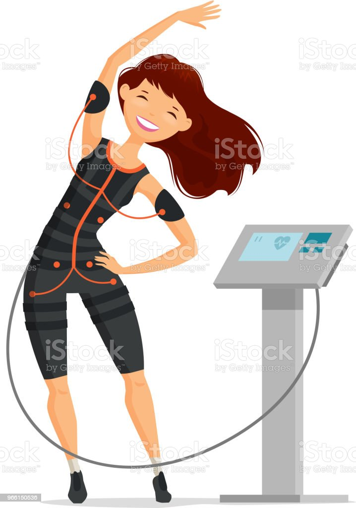 Ems training. Girl doing fitness exercise in the gym. Cartoon vector illustration - arte vettoriale royalty-free di Abbigliamento