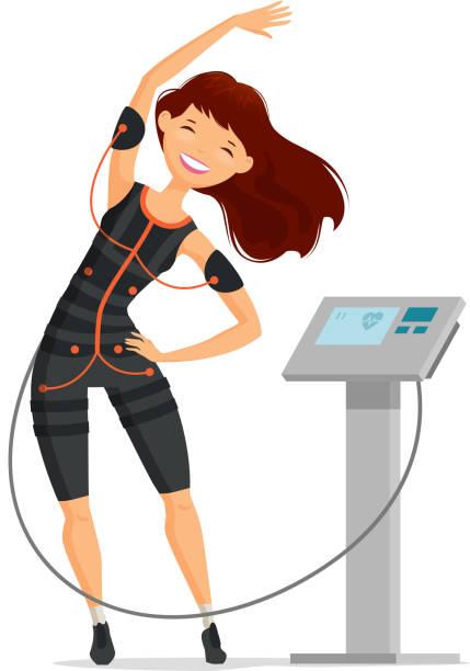 illustrazioni stock, clip art, cartoni animati e icone di tendenza di ems training. girl doing fitness exercise in the gym. cartoon vector illustration - elettrodo