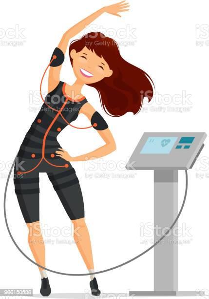 Ems Utbildning Flicka Gör Fitness Övning I Gymmet Tecknade Vektorillustration-vektorgrafik och fler bilder på Aerobics