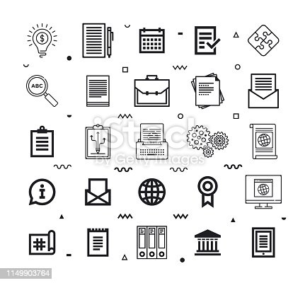 Enabling sustainable compliance outline style symbols. Line vector icons set for infographics, mobile and web designs.