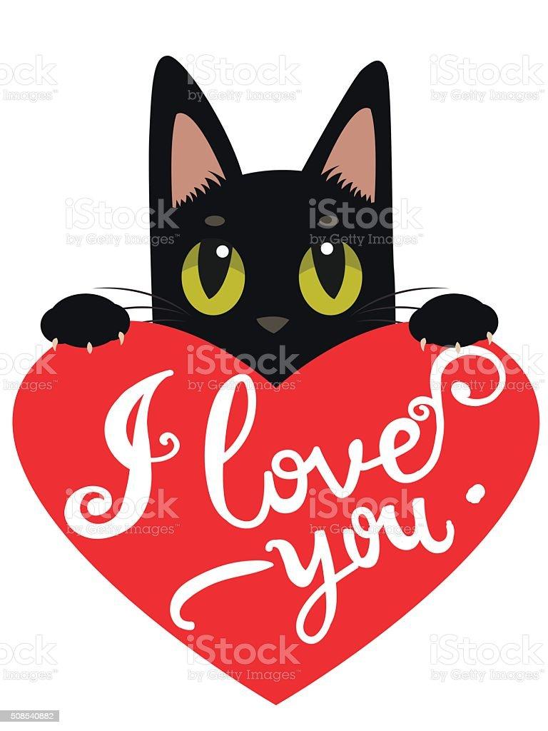 Ilustración De Enamorado Gato Con Corazón Y Texto Me Amor Se Y Más