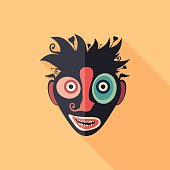 Enamored clown flat square icon with long shadows.