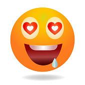 istock Enamored emoji. Yellow funny face. 1338440323