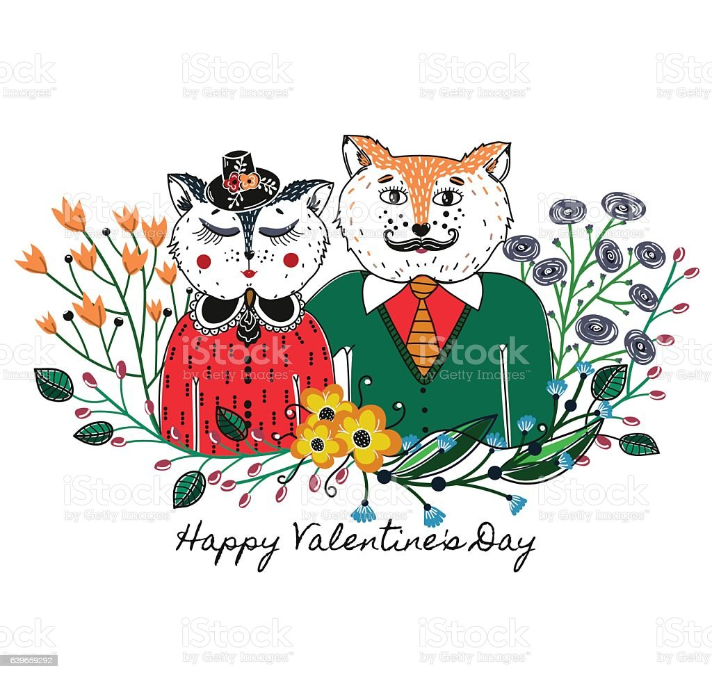 Enamoured Cats Greeting Background On Valentines Day Feast Of Love