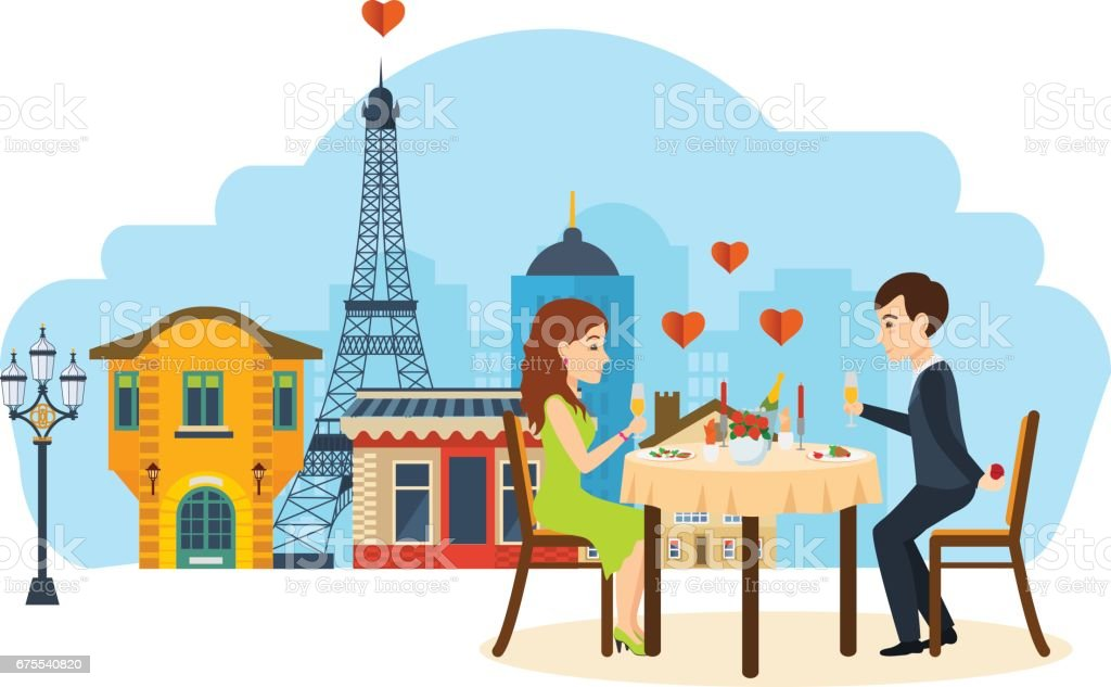 Couple énamouré assis à table au restaurant, parler, boire du champagne - Illustration vectorielle