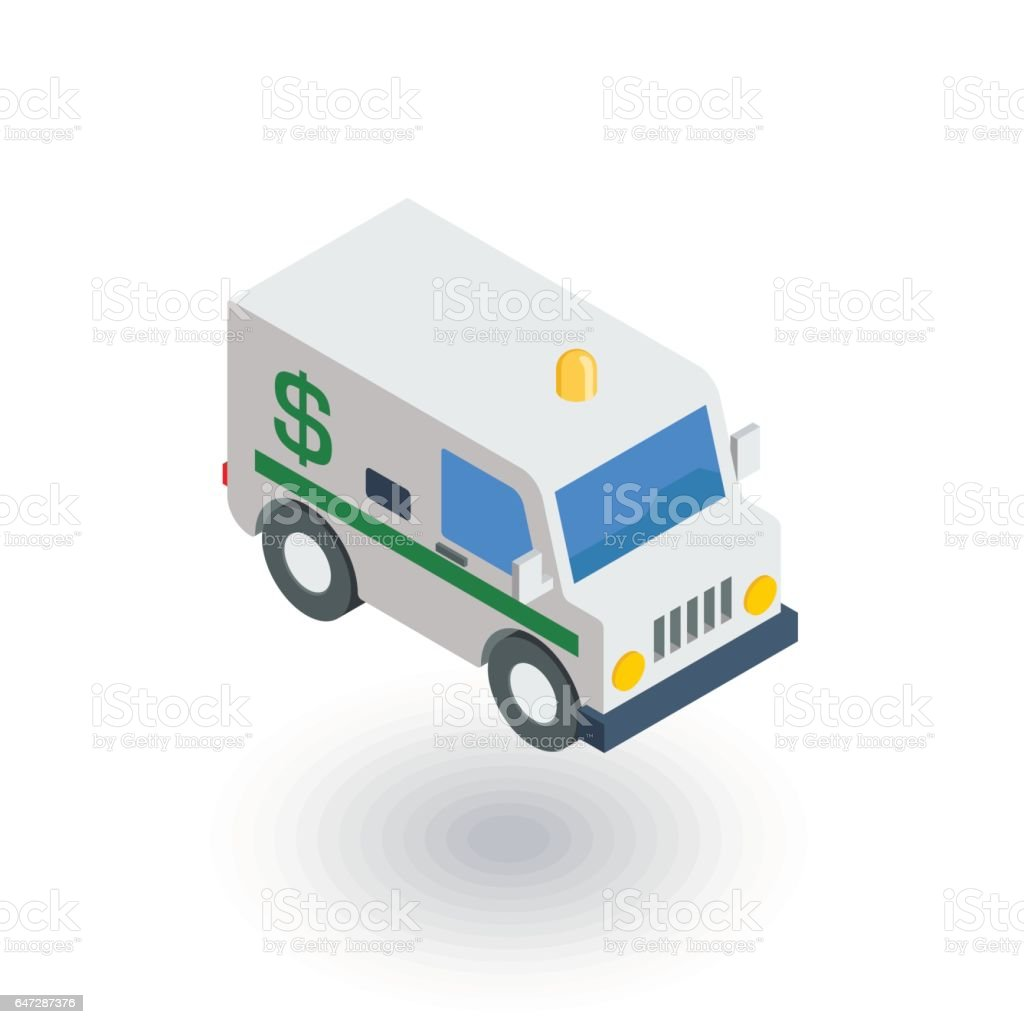 encashment service car, bank collector van, money delivery isometric flat icon. 3d vector vector art illustration