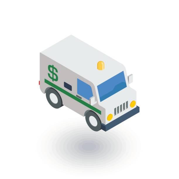 encashment service car, bank collector van, money delivery isometric flat icon. 3d vector vector art illustration
