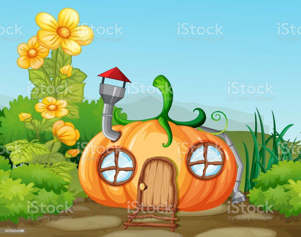 Citrouille Enchantée Maison Dans La Nature Vecteurs Libres