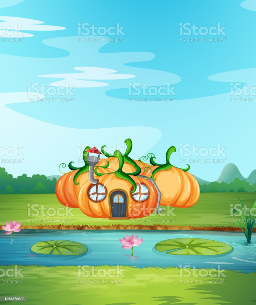 Enchanted pumpkin house in nature illustration