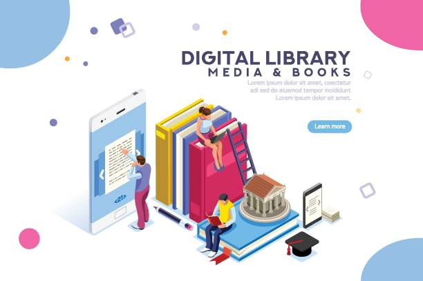 encyclopedia media and book library - library stock illustrations