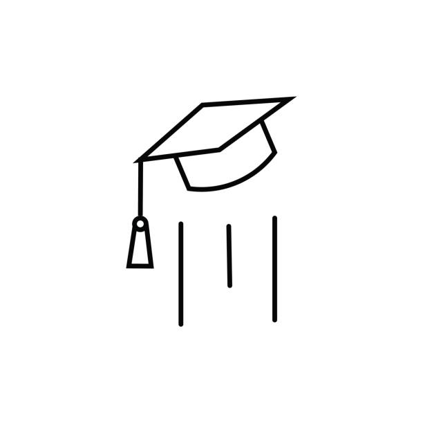 end of education, flying mortarboard vector icon vector art illustration
