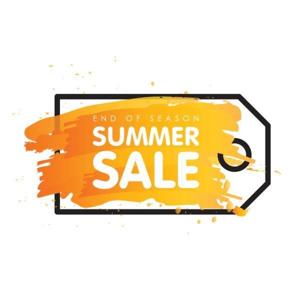 ilustraciones, imágenes clip art, dibujos animados e iconos de stock de final de temporada de verano venta signo precio etiqueta vector ilustración la bandera - gran inauguración