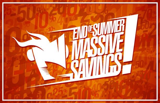 ende des sommers massive einsparungen banner - standlautsprecher stock-grafiken, -clipart, -cartoons und -symbole