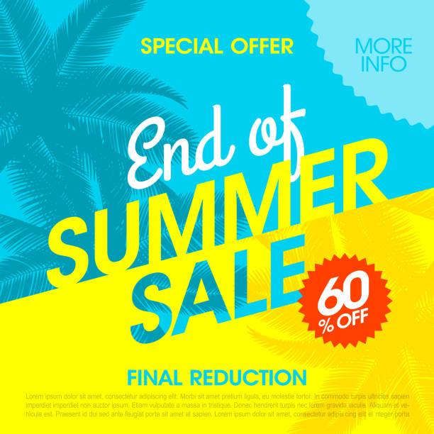 ilustraciones, imágenes clip art, dibujos animados e iconos de stock de end of summer sale banner - verano
