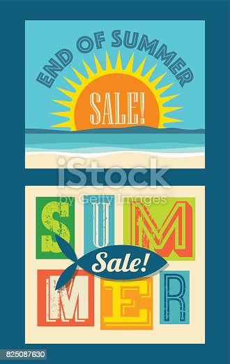 end of summer sale banners. Beach