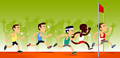 five runner struggle to finish a running race