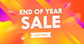 End of Year Sale Advertising Banner with Typography on Colorful Background. End of Season Backdrop Content Flyer Social Media Promo. Branding Template Design for Shopping Discount. Vector Illustration