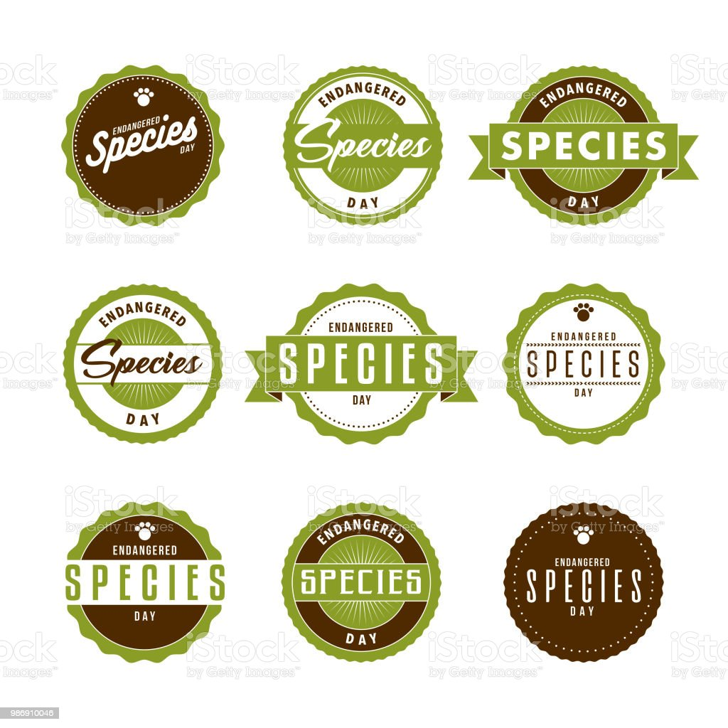 Endangered Species Day Icon Set Stock Vector Art More Images Of