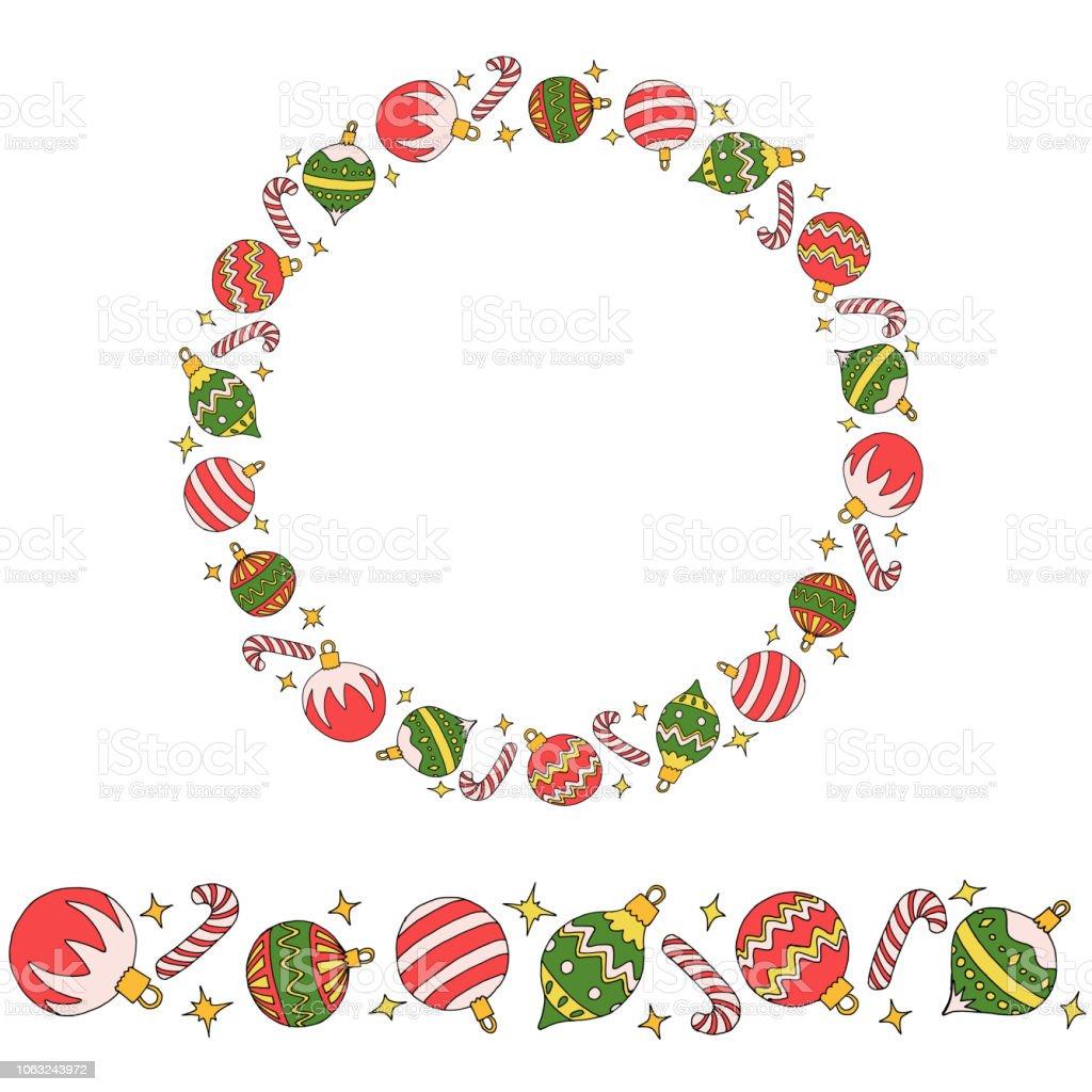 Kranz Aus Weihnachtskugeln.Endlose Pinsel Und Kranz Mit Weihnachtskugeln Bonbons Und