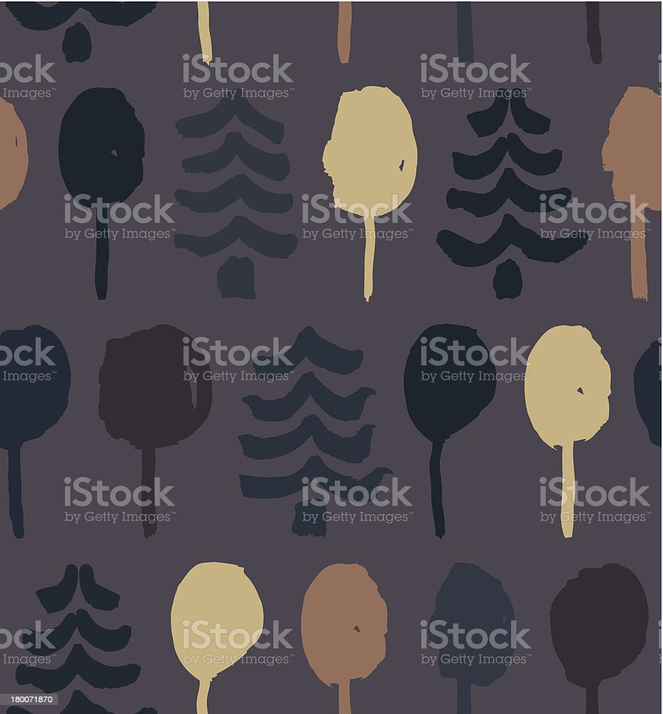 Endless drawn pattern with trees royalty-free stock vector art