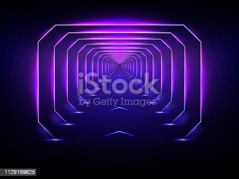 istock Endless futuristic tunnel glowing neon illumination vector 1129199625