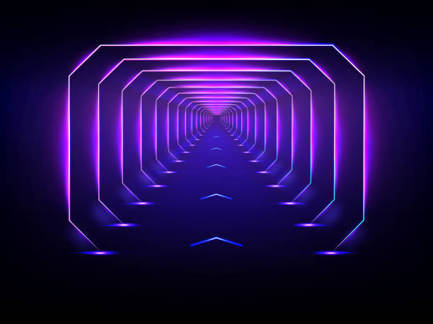 Endless futuristic tunnel glowing neon illumination vector Endless tunnel optical illusion, spaceship corridor, science fiction rocket launching runway or teleport illuminating fluorescent neon light realistic. Abstract futuristic background with light effect airport backgrounds stock illustrations