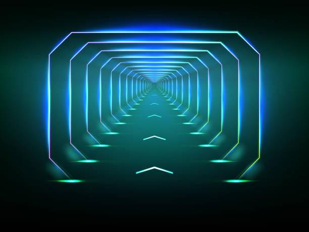 Endless futuristic tunnel vector art illustration