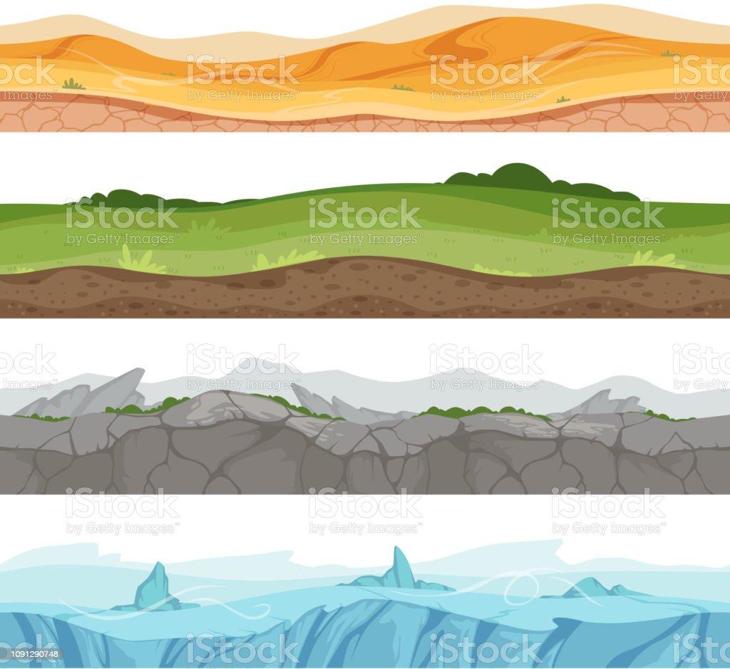 Endless grounded surface. Parallax desert sand grass water ground vector environment for 2d cartoon games vector art illustration
