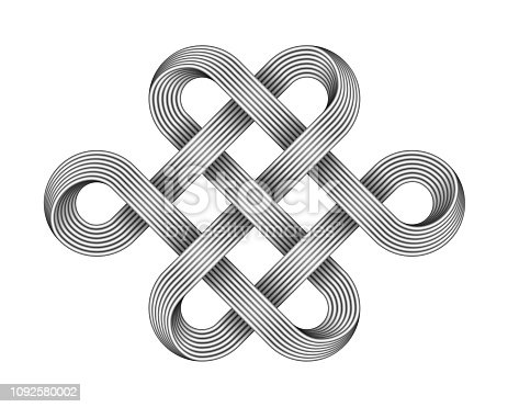 Endless knot made of crossed metal wires. Traditional buddhist symbol. Vector 3d illustration isolated on white background.