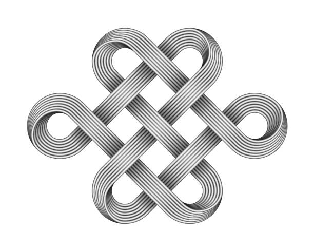Endless knot made of crossed metal wires. Buddhist symbol. Vector illustration. Endless knot made of crossed metal wires. Traditional buddhist symbol. Vector 3d illustration isolated on white background. tied knot stock illustrations