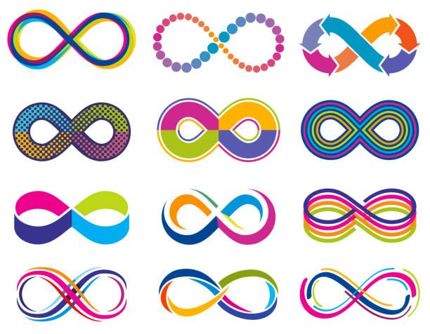 endless mobius loop infinity vector concept symbols. eternity icons - бесконечность stock illustrations