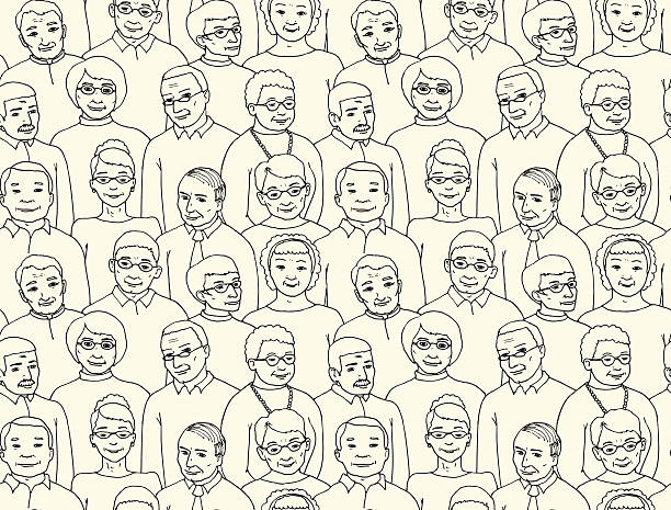endless pattern with the image of group of elderly people - old man face cartoon stock illustrations, clip art, cartoons, & icons