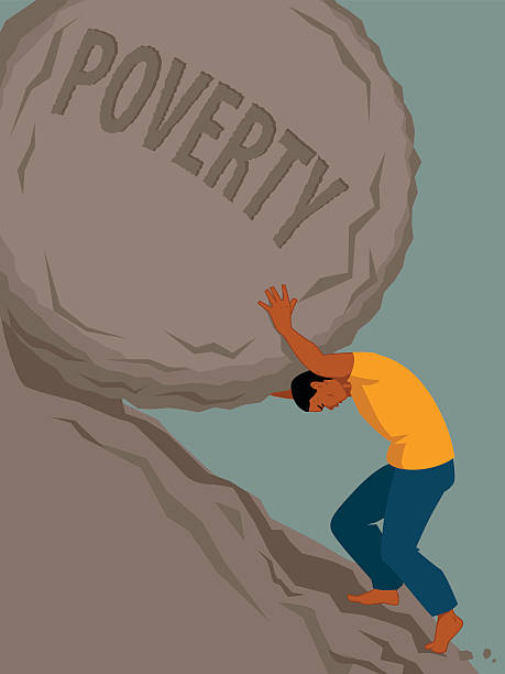 Endless struggle with poverty Man pushing a rock with the word poverty written on it uphill, vector illustration, no transparencies, EPS 8 minimum wage stock illustrations