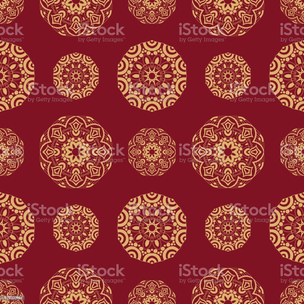 Endless texture with stylized patterned  mandala in Indian style. vector art illustration
