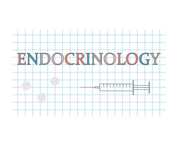 ilustraciones, imágenes clip art, dibujos animados e iconos de stock de palabra de endocrinología en la hoja de papel a cuadros - thyroxine