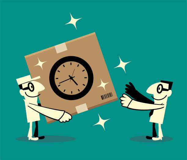 Energetic delivery man is delivering a cardboard box with Time sign to a businessman vector art illustration
